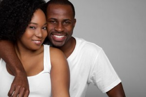 smiling couple after marriage counseling